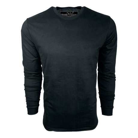 Healther Suede Long Sleeve Crew Neck // Black (S)