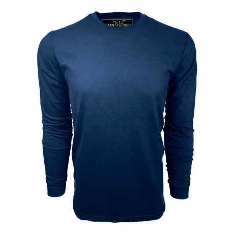 Healther Suede Long Sleeve Crew Neck // Navy (S)