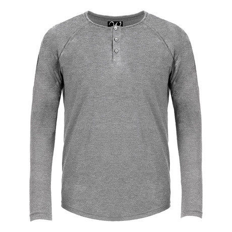 Long Sleeve Raglan Henley // Dark Heather Grey (S)