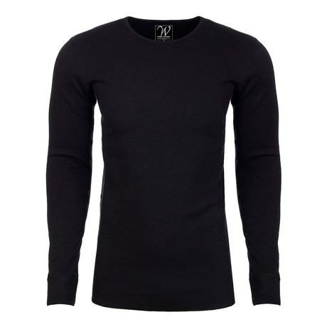 Long Sleeve Thermal Crew Neck // Black (S)