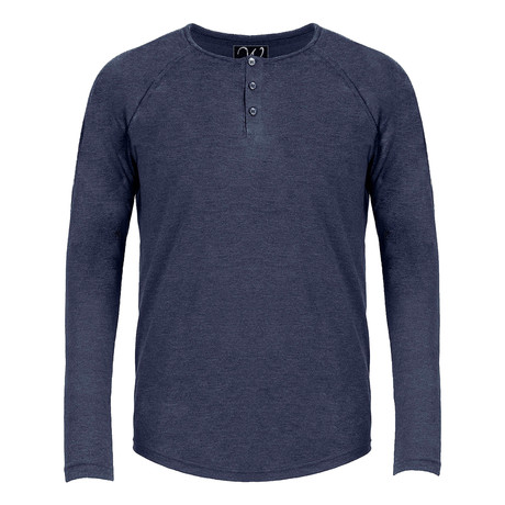 Long Sleeve Raglan Henley // Navy (S)