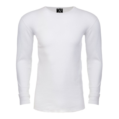 Long Sleeve Thermal Crew Neck // White (S)