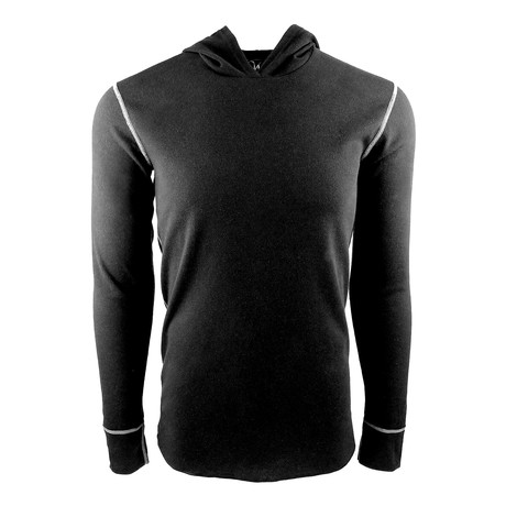 Long Sleeve Thermal Hoodie // Black (S)