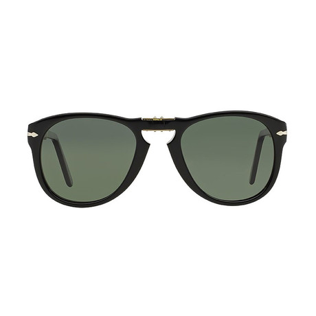 Persol 714 Iconic Folding Sunglasses // Black Polarized (52mm)