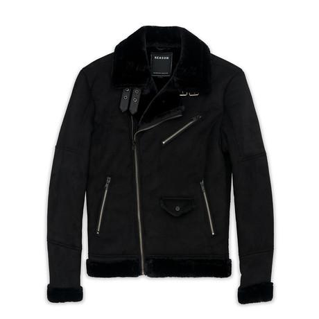 Coalition Suede Shearling Moto // Black (S)