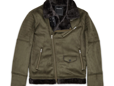 Photo of Reason Stylish Tracksuits & Apparel Coalition Suede Shearling Moto // Green (S) by Touch Of Modern