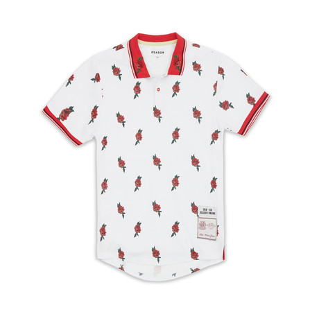 All-Over Roses Polo // White (S)