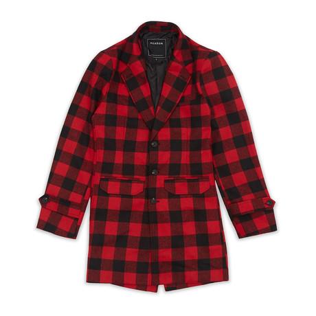 Plaid Overcoat // Red + Black (S)