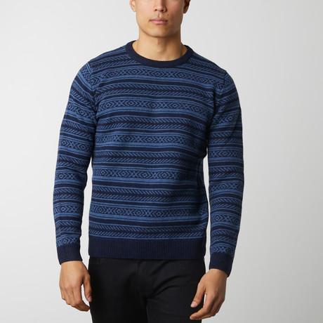 Tribal Pattern Sweater // Indigo (L)