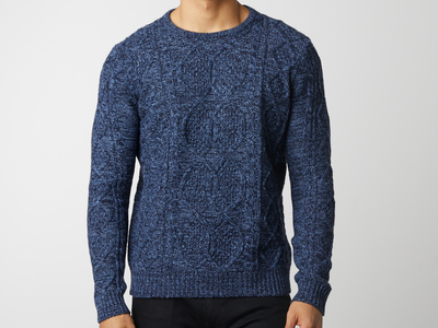Photo of BARQUE Updated Menswear Marled Yarn Cable Sweater // Navy (S) by Touch Of Modern