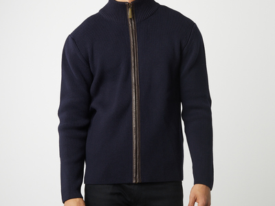 Etiqueta Negra Cashmere + Pima Cotton Sweaters  Leather Elbow Patch + Zipper Sweater // Navy (L) by Touch Of Modern - Denver Outlet
