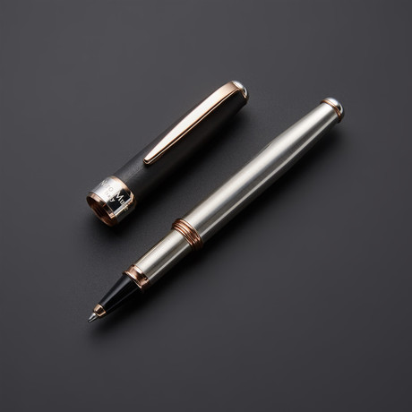 Satin 925 Solid Silver Rollerball Pen // 18k Rose Gold + Silver Plated Fittings (Black Ink)