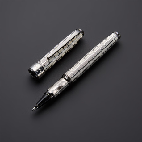 Chessboard 925 Solid Silver Rollerball Pen // Black Gold + Silver Plated Fittings (Black Ink)