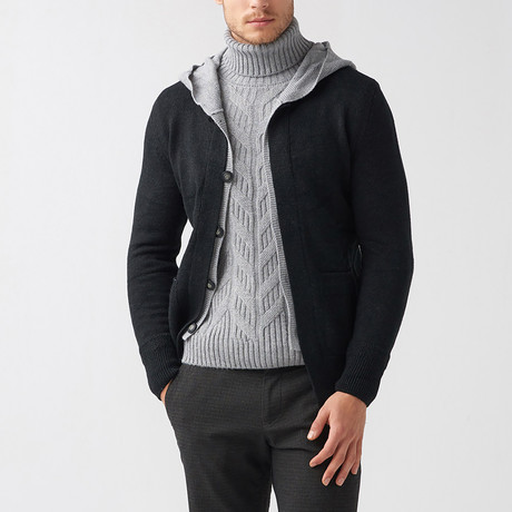 Dillon Wool Tricot Cardigan // Black (S)