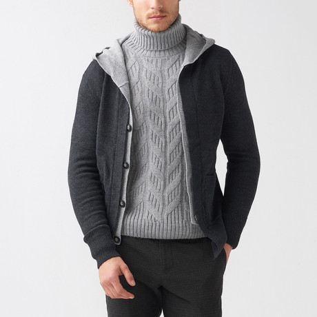 Dillon Wool Tricot Cardigan // Anthracite (S)