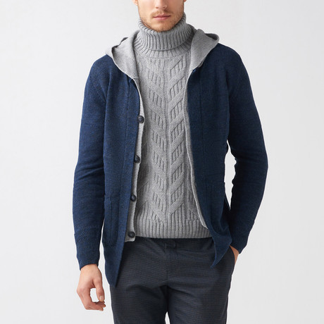 Dillon Wool Tricot Cardigan // Dark Blue (S)