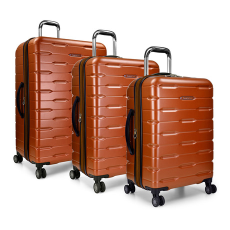 Traveler's Choice Ritani 3-Piece Hardside Spinner Luggage Set, Burnt Orange (Orange)