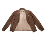 Radagast Fur Lining Leather Jacket // Brown (XL)
