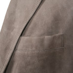Gandalf Suede Leather Puffer Coat Jacket // Gray (XS)