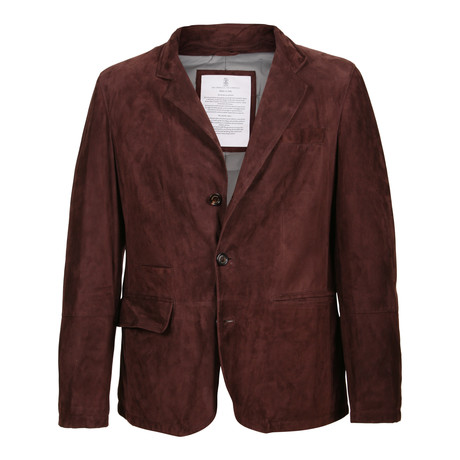 Frodo Suede Leather Jacket // Burgundy (XS)