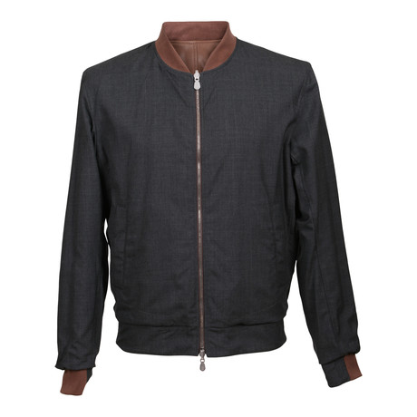 Samwise Reversible Leather Jacket // Brown + Gray (XS)