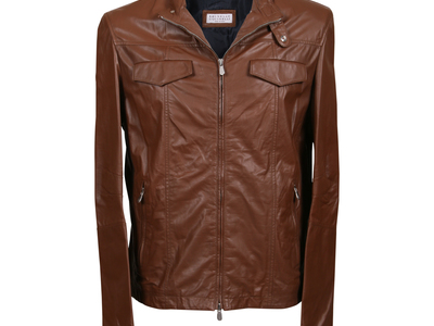 Photo of Brunello Cucinelli Designer Leather Jackets & Vests Boromir Leather Jacket // Brown (L) by Touch Of Modern
