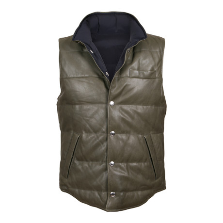 Sauron Leather Reversible Puffer Vest // Green + Blue (XS)