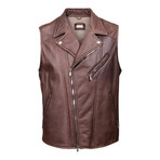 Zedd Fur Lined Leather Moto Vest // Brown (M)