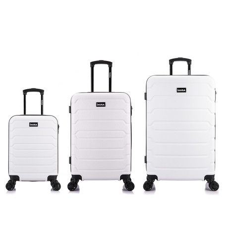 InUSA Trend Lightweight Hardside Spinner // 3 Piece Luggage Set (Black)