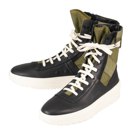 Fear Of God // Nero Foliage Leather Jungle High-Top Sneakers // Black + Green (US: 6)