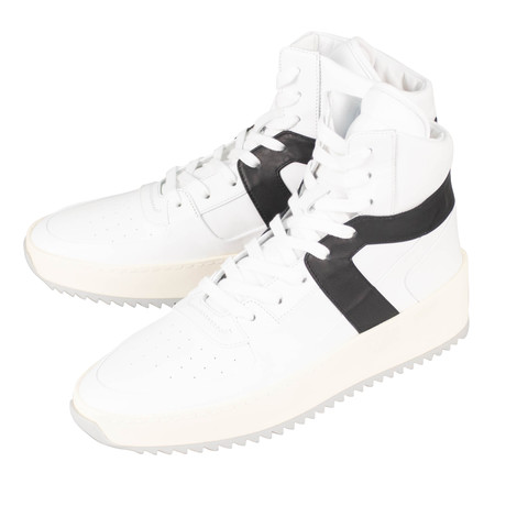 Fear Of God // Leather Basketball High-Top Sneakers // White + Black (US: 6)