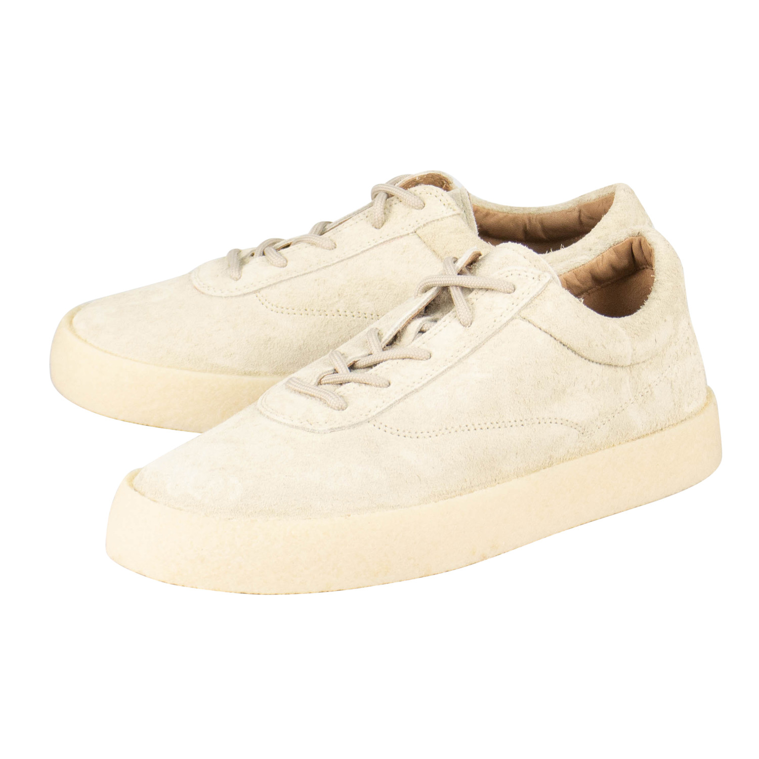 3fdaaf1b2e3 Yeezy    Season 6 Chalk Thick Shaggy Suede Crepe Sneakers    Off-White