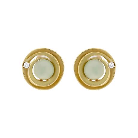 Annamaria Cammilli Dune Circle 18k Yellow Gold Diamond + Prehnite Earrings