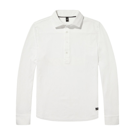 Stone Tailored Longsleeve Poloshirt // Pure White (S)