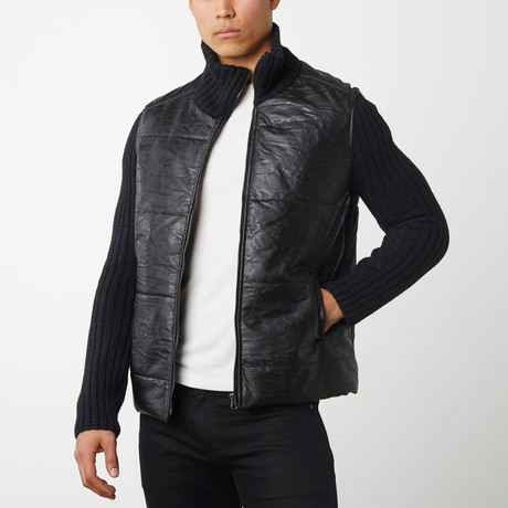 Quilted Front With Knit Sleeves // Black (S)
