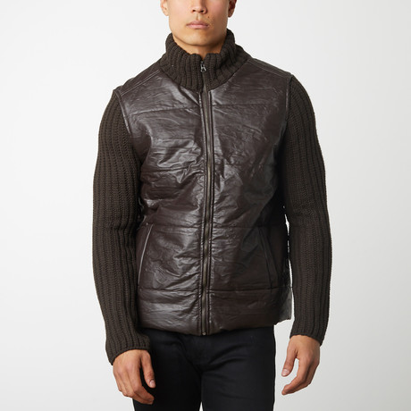 Quilted Front With Knit Sleeves // Brown (S)