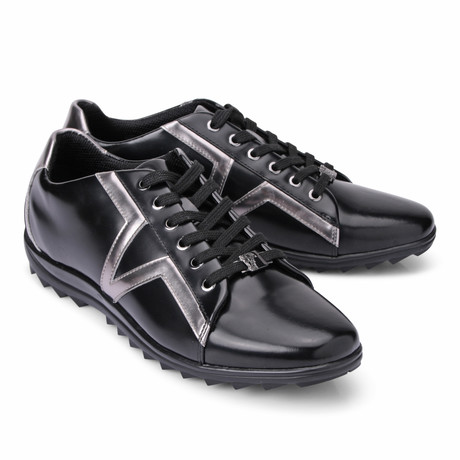 Lace-Up Logo Fashion Sneaker // Black + Silver (Euro: 39)