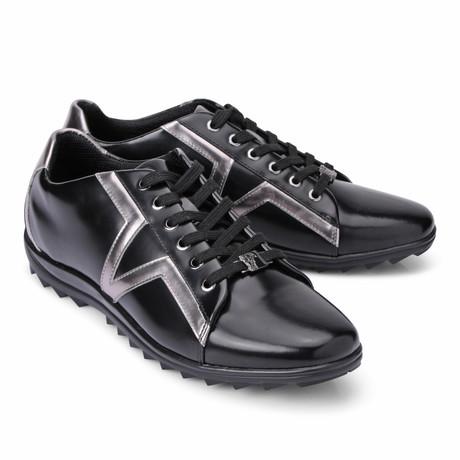 Lace-Up Logo Fashion Sneaker // Black + Silver (Euro: 40)
