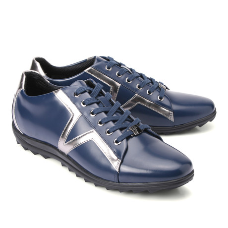 Lace-Up Logo Fashion Sneaker // Navy + Silver (Euro: 40)