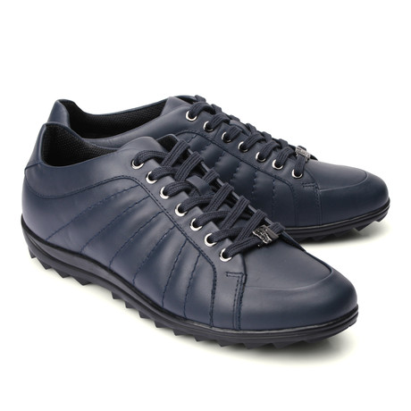 Lace-Up Line Stitched Fashion Sneaker // Navy (Euro: 39)