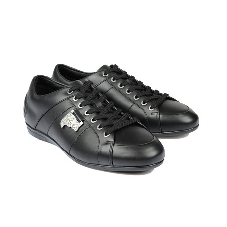 Leather Metal Logo Lace-Up Sneaker // Black (Euro: 39)