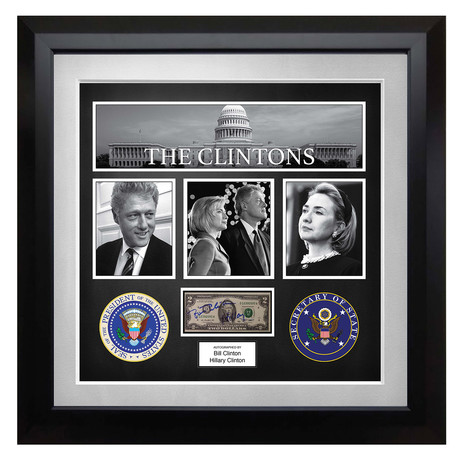 Signed + Framed Collage Currency Collage // Bill and Hillary Clinton