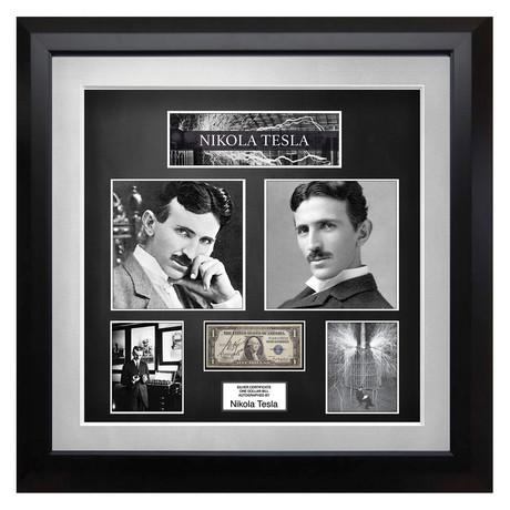 Signed + Framed Currency Collage // Nikola Tesla