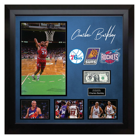 Signed + Framed Currency Collage // Charles Barkley