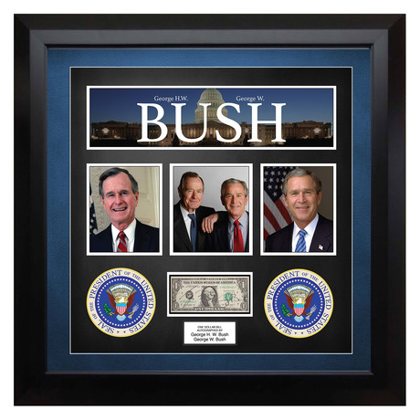 Signed + Framed Currency Collage // George H.W + George W. Bush