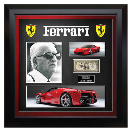Signed + Framed Currency Collage // Enzo Ferrari