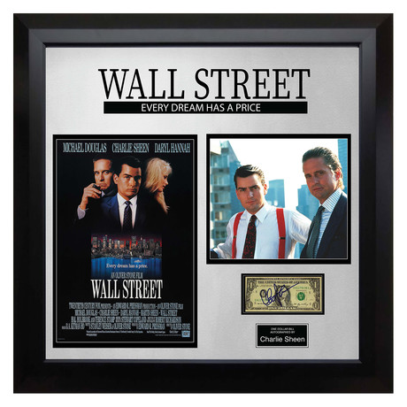 Signed + Framed Currency Collage // Charlie Sheen