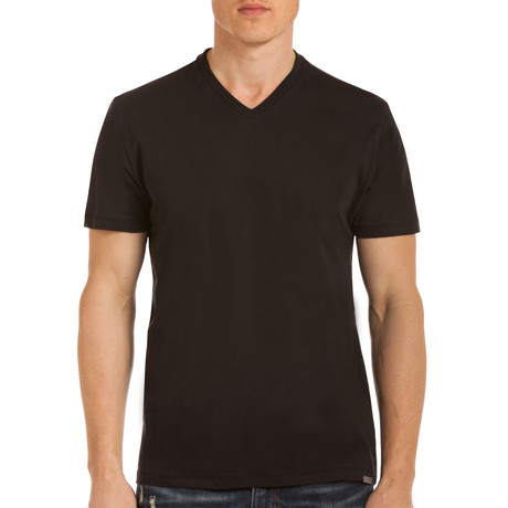 Drake Short Sleeve V-Neck T-Shirt // Black (S)