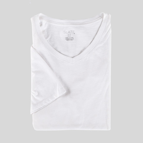 Drake Short Sleeve V-Neck T-Shirt // White (S)
