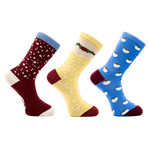 Jolly Mistletoe Holiday Socks // Set of 3 Pairs (Size 8-12)